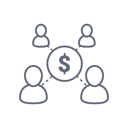 Sharing economy concept, financial management, mutual fund, corporate service, new business investment, crowd sourcing, market research, vector line icon. Illustration