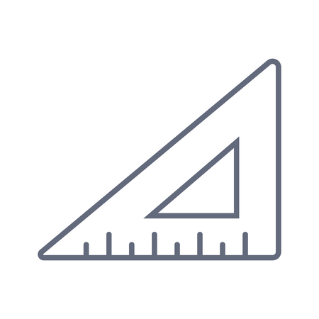Geometric triangular ruler line icon, outline vector sign, linear style pictogram isolated on white. Symbol, logo illustration. Logó