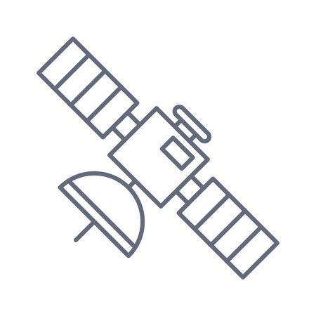 Ikona bryły satelity, nawigacja i komunikacja, grafika wektorowa, wypełniony wzór na białym tle.