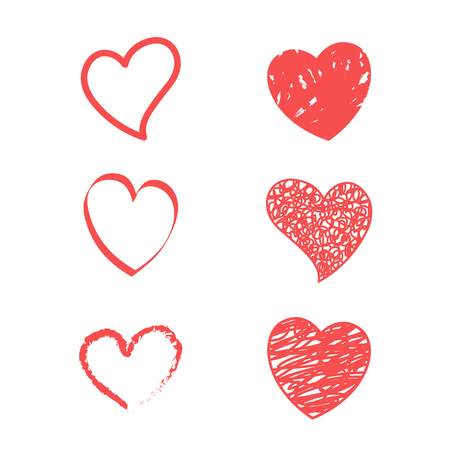 Red hearts. Vector icon of hearts. Vector on white background Stock Illustratie