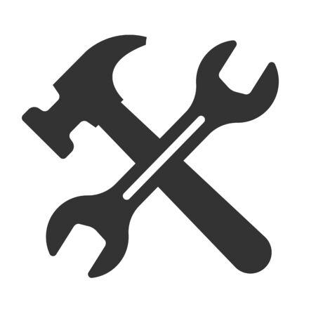 スパナアイコン、ツールアイコンとのハマーアイコンの概念。白で分離されたベクトルイラスト。EPS 10