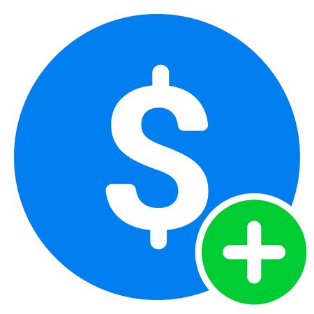 Finance icon with add sign. Finance icon and new, plus, positive symbol. Icon, extra, money, dollar, positive, sign, join pay plus add addition