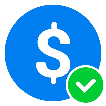 Approved Payment icon. Vector pictograph style is a flat symbol, color, chess transparent background. Designed for software and web interface toolbars and menus.