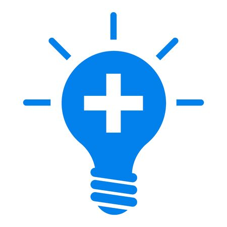 Lamp bulb vector flat icon with light rays. Blue outline contour style symbol. 向量圖像