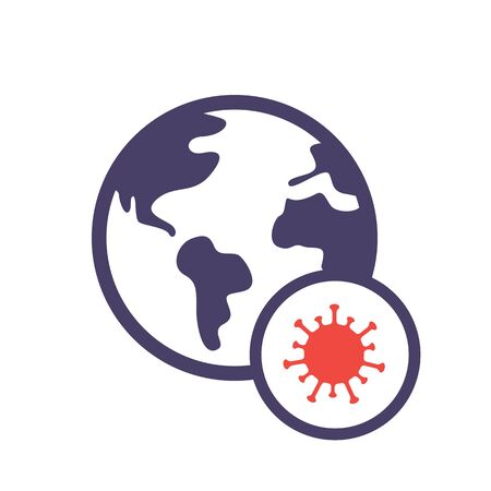 Earth with virus. World virus infection icon. Coronavirus cells on globe. Pandemic. Flat style. Isolated on white background. Illustration