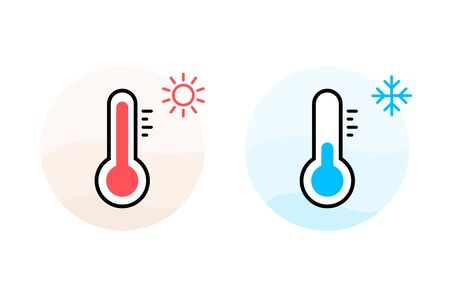 Thermometer measuring Heat and Cold, with Sun, Snowflake icons. Vector illustration. EPS 10 Stock Illustratie