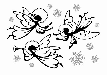 fluga: Christmas änglar och snöflingor
