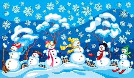 paysage hiver: bonhommes de neige contre un paysage d'hiver