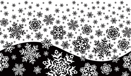 winter ontament with snowflakes and a wave Stock Vector - 23681888
