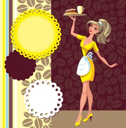 Kelnerka i zestaw elementów na cafe Ilustracje wektorowe