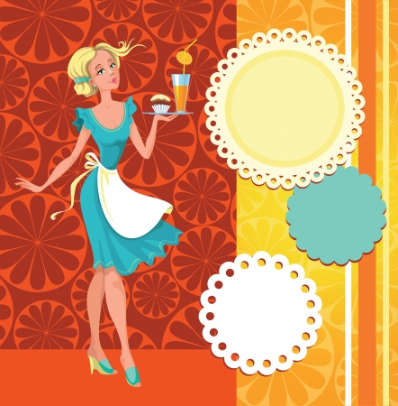 The waitress with orange juice and a set of decorative elements for cafe