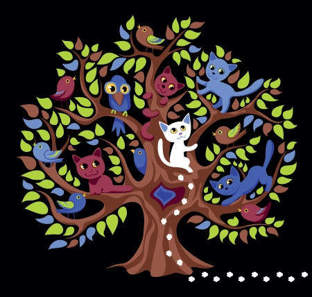 animated film: tree with cats and birdies
