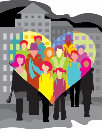 people in the city, seen by love eyes Vector