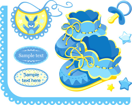 bootees: set of elements for newborn congratulation