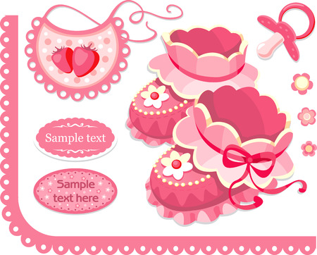 set of elements for newborn baby girl  Vector