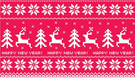 continuation: New Years Scandinavian patterns on a red background Illustration