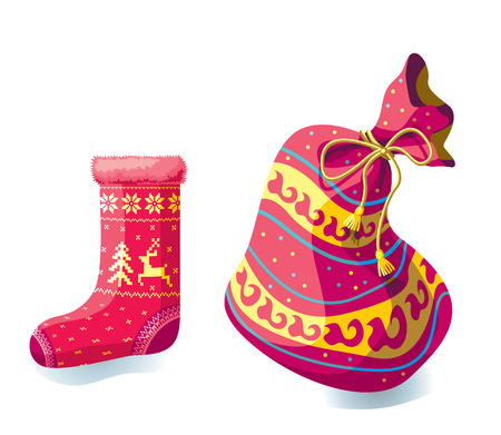 Christmas sock for gifts and a New Years bag