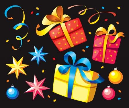 set of elements for festive ornament Illustration