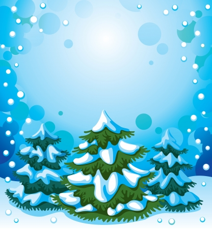 Landscape with fir-trees and snowfall, as a  background Vector