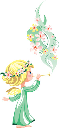 whiff: Angel in green, playing on a pipe a melody of flowers Illustration