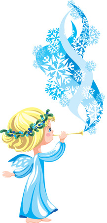 whiff: The winter angel playing on a pipe Illustration