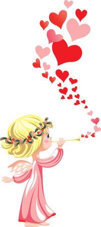 Angel in pink, playing on a pipe a love melody