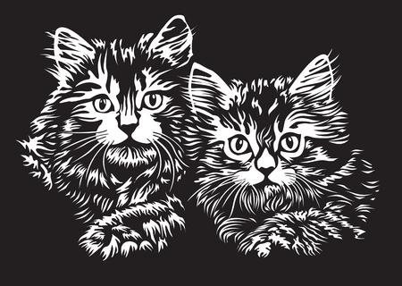 リノカットスタイルの子猫のペア  イラスト・ベクター素材