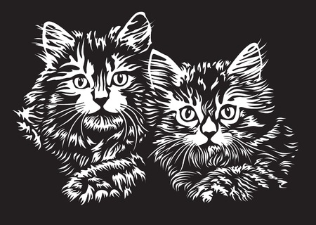 A pair of kittens in linocut style