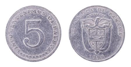 5 Centesimos de Balboa Republic of Panama. Both sides isolated on white background.