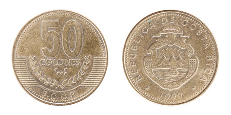 50 Colones REPUBLICA DE COSTA RICA. AMERICA CENTRAL. Both sides isolated on white background. Stock Photo