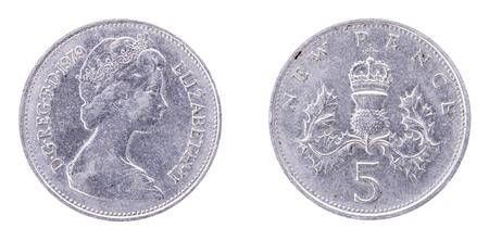 reg: 5 New Pence, Elizabeth II, Great Britain, 1979. DG REG FD1970 ELIZABETH-II. United Kingdom. Both sides isolated on white background.