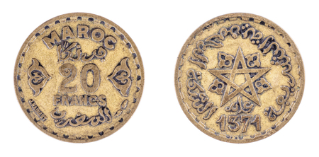 1952. 1371. Morocco. 20 Francs. Empire cherifien. Bronze-aluminium. Mohammed V. Both sides isolated on white background. Front and back view. Stock Photo