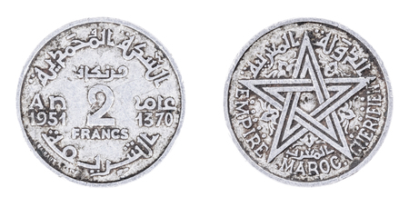 both sides: 1951. 1370. Morocco. 2 Francs. Empire cherifien. Aluminium. Mohammed V. Both sides isolated on white background.