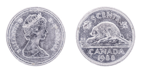 specifications: 1988 Elizabeth II Five Cent - Nickel Specifications. Canada. Both sides isolated on white background.