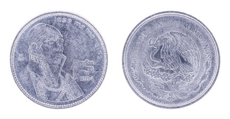 both sides: 1984. 1 Peso. Jose McMorales Estados Unidos Mexicanos Mexican Coin. Both sides isolated on white background.
