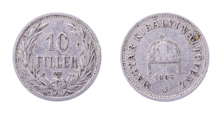 1908 KB AUSTRIA - HUNGARY EMPIRE 10 FILLER COIN. Both sides isolated on white background.
