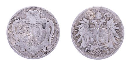 josep: Austria Hungary Empire,1895 20 Heller, Franz Josep I.Double Head Eagle. Both sides isolated on white background. Stock Photo