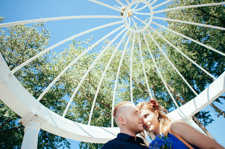 love dome: Lovely young couple emotionally looking at each other. Stock Photo