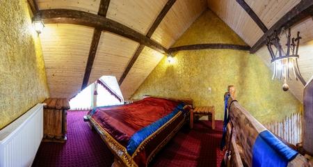 cossacks: Unique ethnic interior of The hotel room. Ukrainian style and specific decorations of Cossacks historical period.