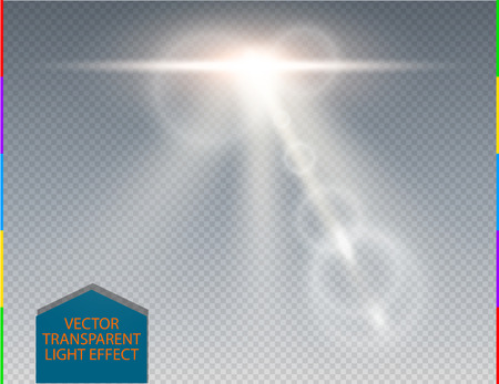 indirect: Vector white skyline lens flare transparent special light effect. Abstract blur sun glow ray with spotlight. Isolated transparent background. Decoration design element. Space flare