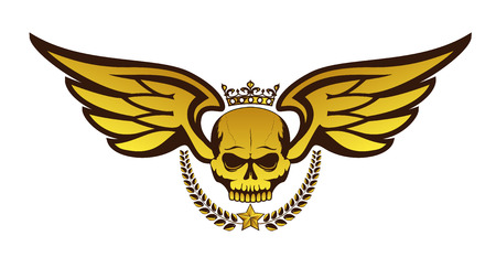 Vector golden tattoo or with crowned skull, wings, laurel wreath. Isolated on white background. Royal design for air force, biker or MMA fighter print Illustration