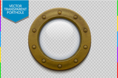 Illustration of a bronze or brass ship porthole with glass. Isolated on transparent background. Rivets mount
