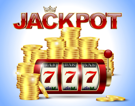 Slot machine with lucky seven and golden coins and red glossy jackpot text with crown on blue background