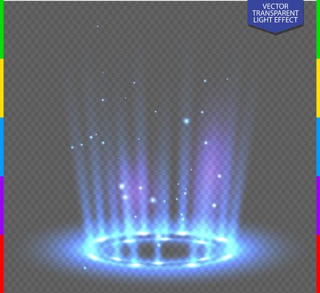 Round blue glow rays night scene with sparks on transparent background. Empty light effect podium. Disco club dance floor. Show party. Beam stage. Magic fantasy portal. Futuristic teleport.