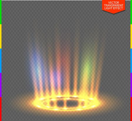 Round yellow glow rays night scene on transparent background. Empty light effect podium. Disco club dance floor. Show rainbow colors. Beam stage. Magic fantasy portal. Futuristic teleport. Illustration