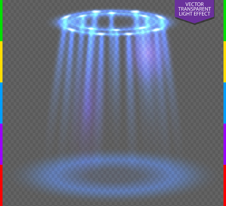 club scene: Round blue glow rays night scene on transparent background. Empty light effect podium. Disco club dance floor. Show party lamp in fog. Ufo beam stage