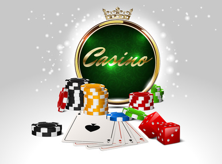 Round casino golden frame with crown, stack of poker chips, ace cards and red dice on green background. Online club emblem