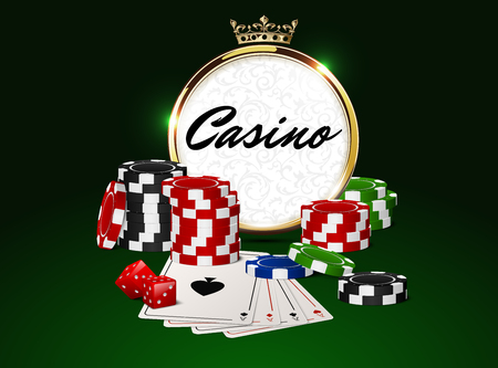 red dice: Round casino golden frame with crown, stack of poker chips, ace cards and red dice on green background. Online club emblem