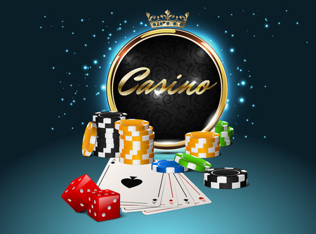 red dice: Round casino golden frame with crown, stack of poker chips, ace cards and red dice on light effect sparks background. Online club emblem