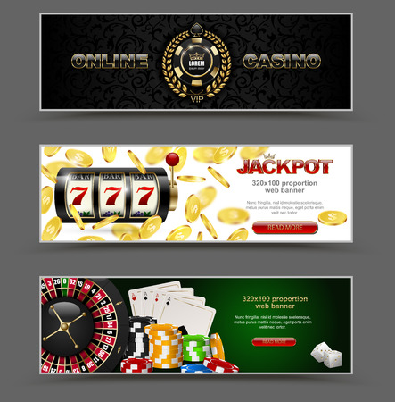 VIP poker luxury horizontal web banner set. Chip stack vector online casino text club golden logo concept. Royal poker card, roulette, dice. Slot machine, falling golden coins jackpot.